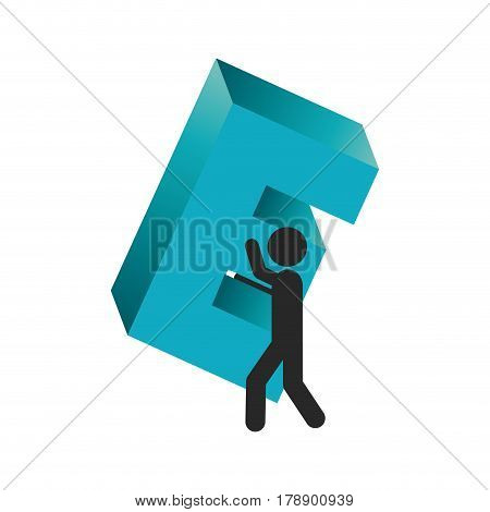 person with e symbol in his hands, vector illustration design