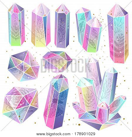 Set of rainbow crystals isolated. Leafs moss moths rose inside gems. Transparent multicolored gradient stones or terrariums. Golden splashes. Magic fairytale theme. Vector illustration.