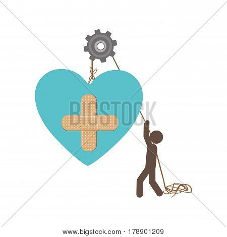 people with pulleys hanging the heart with aid band, vector illustration