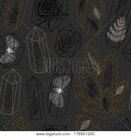Seamless pattern with hand drawn crystals and leafs moths rose inside gems or terrariums. Black and white and golden colors. Vector background.