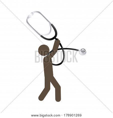 person with stethoscope tool in his hands, vector illustration design
