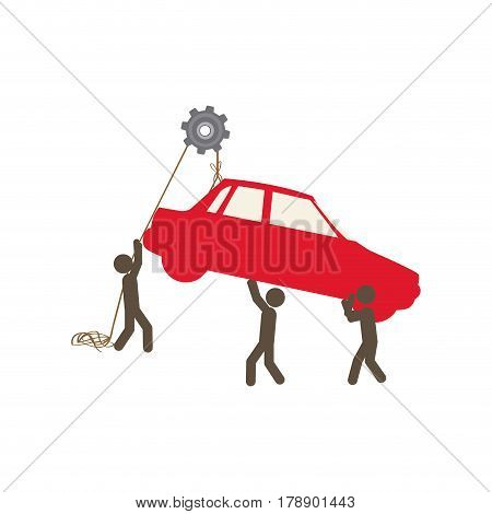 people with pulleys hanging the car, vector illustration design