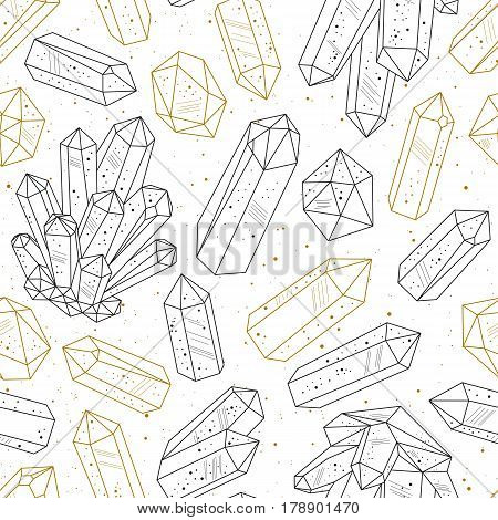 Seamless pattern. Black and golden crystals gems in line art hand drawn style. Vector background.
