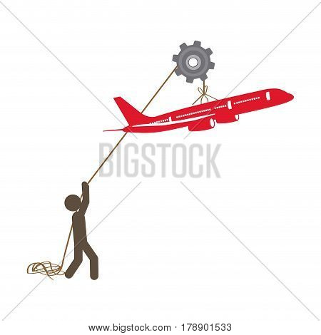 people with pulleys hanging the airplane, vector illustration design