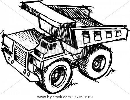 Sketch of a Dump truck Vector Illustration