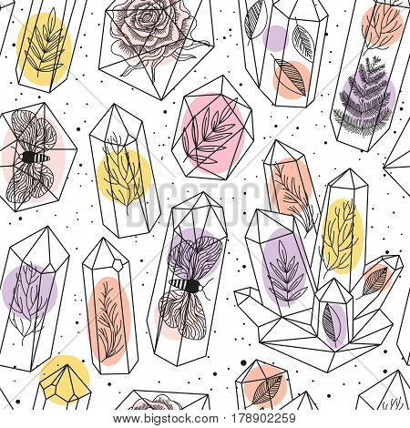Seamless background with crystals gems or terrariums and leafs moths rose inside. Black and white line art pattern and colored drops. Hand drawn style magic fairytale theme. Vector illustration.