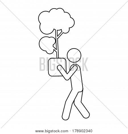 figure person with tree inside of plantpot, vector illustration
