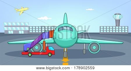 Airport airfield horizontal banner concept. Cartoon illustration of airport airfield vector horizontal banner for web