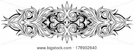 A vector illustration of foral black and white tattoo ornamental pattern design