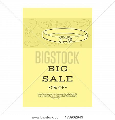 Big Sale Template Banner. Pattern Of Accessories And A Belt. Yellow Shades. Vector Illustration In H