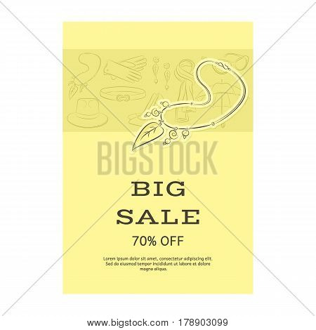 Big Sale Template Banner. Pattern Of Accessories And Necklaces With Pendants. Yellow Shades. Vector