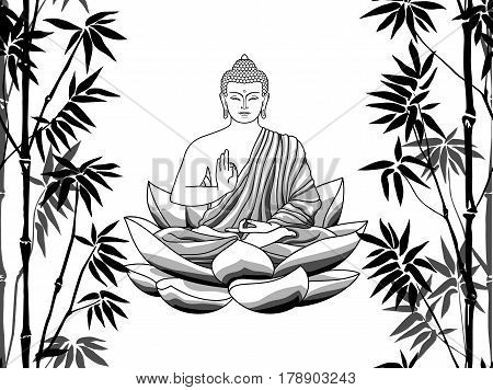 Bamboo and Buddha, sitting on lotus seamless pattern on white background. Tropical wallpaper, nature textile print, template with text place.