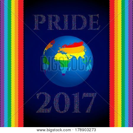 Gay Pride 2017 poster rainbow spectrum flag, homosexuality. LGBT community rights concept. Cartoon parade announcement banner, placard, invitation card. Vector illustration.