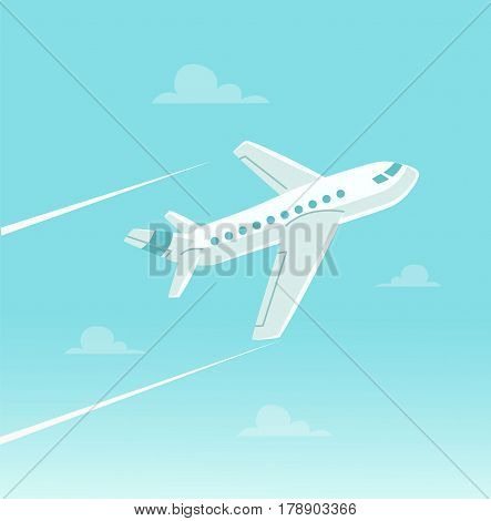 Cartoon plane in blue sky. Airplane in flats style. Vector stock.