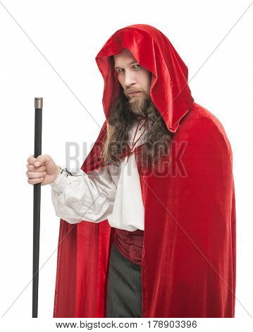 Medieval Man In Cape With Cane Isolated
