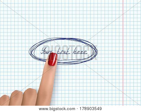 Finger Pointing Notebook Paper Forefinger Pick White Paper 1