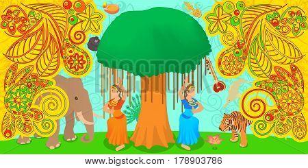 India travel horizontal banner concept. Cartoon illustration of India vector horizontal banner for web