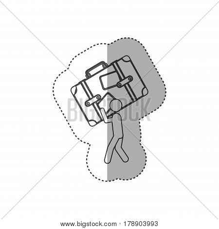 figure person with suitcase in his hands and shoulder, vector illustration design