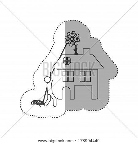 figure person with pulleys hanging the house, vector illustration design