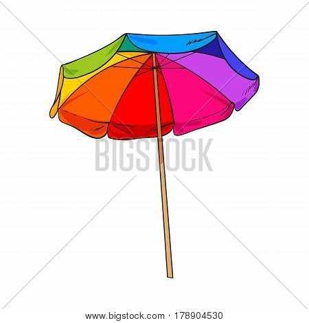 Rainbow colored, open beach umbrella, sketch style vector illustration isolated on white background. Hand drawn beach umbrella, symbol of summer vacation in tropical countries