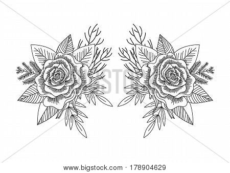 Black and white roses and leaves mirror pattern isolated. Line art hand drawn tattoo style. Forest romantic bouquet. Vector illustration.