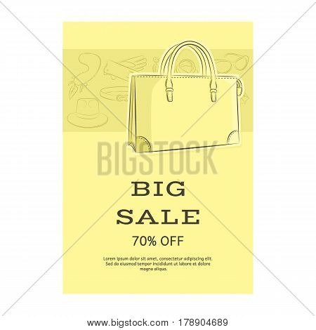Big Sale Template Banner. Pattern Of Accessories And A Women Handbag. Yellow Shades. Vector Illustra