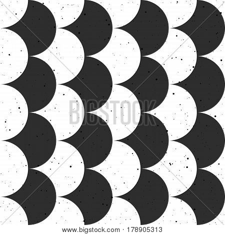 Fish scale black and white seamless background. Japanese motif. Vector pattern for fabric wallpaper and wrap.