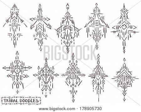 Tribal Elements Doodle Sketch Ethnic Symbols Tattoo Set 1