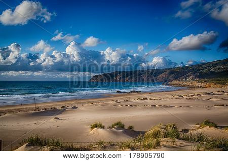 Cascais Portugal. 25 March 2017.View of Guincho beach in hazy day from the Cascais side on the N247 road in Portugal. Cascais Portugal. photography by Ricardo Rocha.