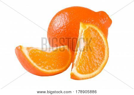 orange tangerine or Mineola with slices isolated on white background.