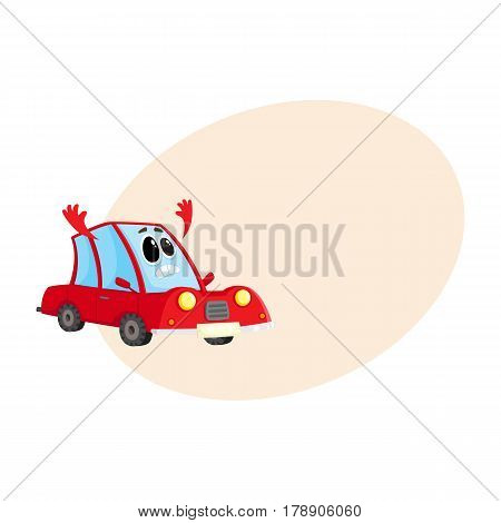 Funny red car, auto character flinging up its arms in dismay, despair, horror, cartoon vector illustration with place for text. Red car character, mascot with human face sad, showing despair