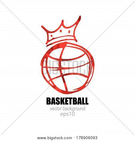 Vector illustration for Basketball. Logo symbol ball with a crown.