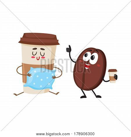 Funny coffee bean and sleepy paper cup characters, breakfast, morning, wake up concept, cartoon vector illustration isolated on white background. Coffee bean and paper coffee cup characters, mascots