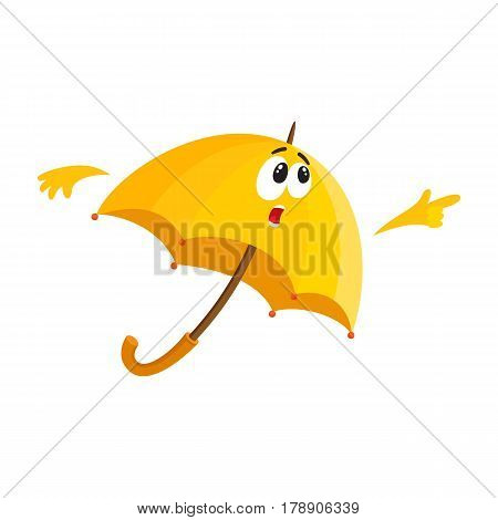 Funny yellow umbrella character with human face pointing to something with surprise, cartoon vector illustration isolated on white background. Umbrella, parasol character, mascot, with pointing finger