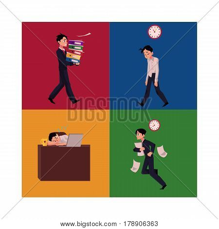 Businessman, manager having blue Monday, late to work, frustrated, sleeping at workplace, cartoon vector illustration four situations. Businessman, employee set, difficult times