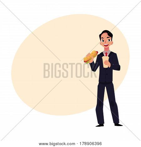 Young businessman in business suit eating sandwich, holding coffee cup, lunch break concept, cartoon vector illustration with place for text. Businessman, employee eating lunch on the go