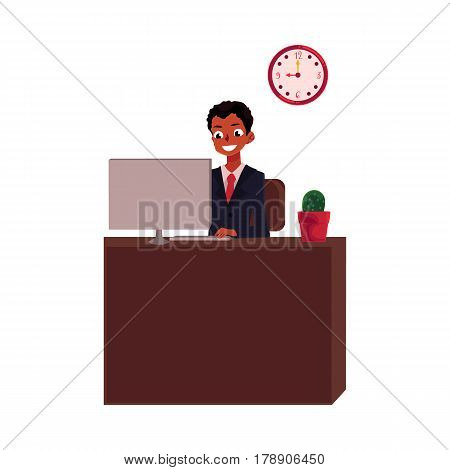 Black, African American businessman sitting at office desk, looking at the monitor, cartoon vector illustration isolated on white background. Black businessman, worker, employee working in office