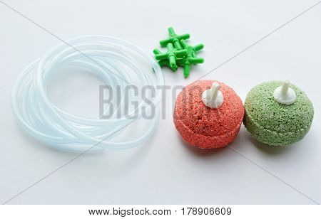 oxygen system tools for aquarium on white background