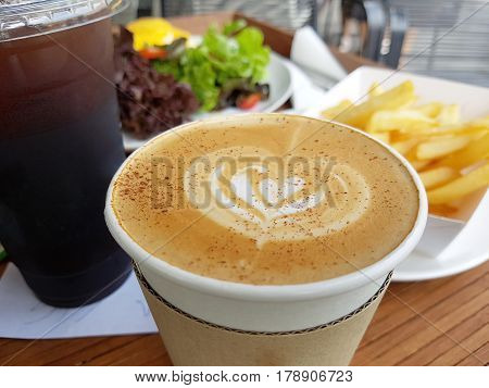 Hot Latte and Iced Cappucino with Fried and Salad for great morning