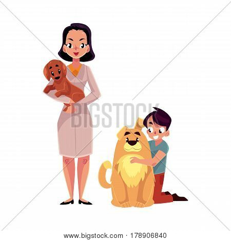 Woman, female veterinarian doctor, vet in white medical coat and little boy with dogs, puppies, cartoon vector illustration isolated on white background. Veterinarian doctor, vet and boy, dog owner