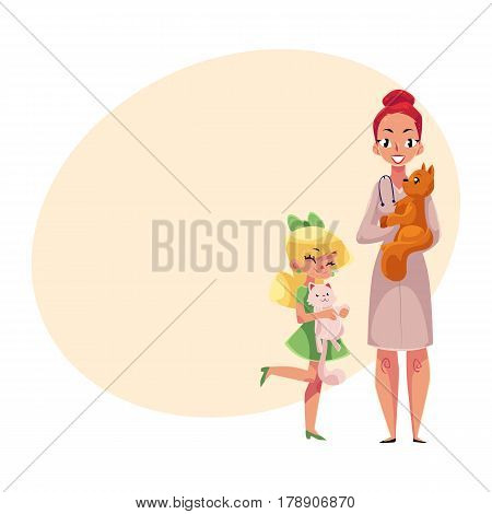 Woman, female veterinarian doctor, vet in white medical coat and little girl holding cats, cartoon vector illustration with place for text. Veterinarian doctor, vet and girl, pet, cat owner