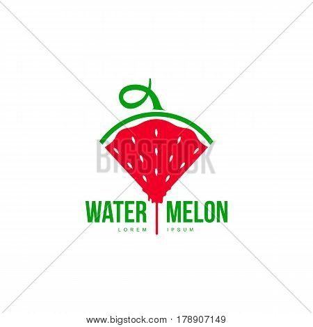 Logo template with side view of stylized triangular watermelon slice pointing down, vector illustration isolated on white background. Watermelon logotype, logo design with watermelon slice