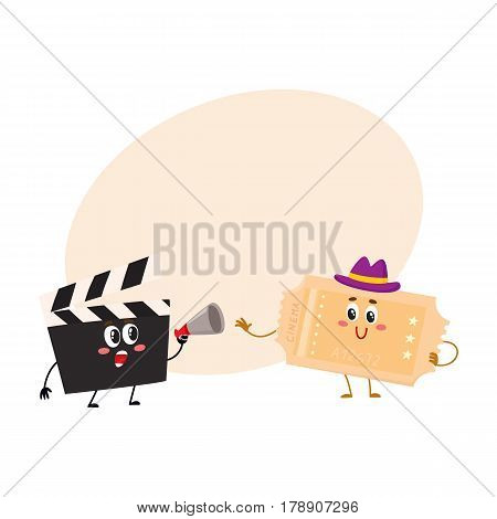 Cinema production clapperboard and movie ticket characters with smiling human faces, cartoon vector illustration with place for text. Cinema clapper board and movie ticket characters, mascots