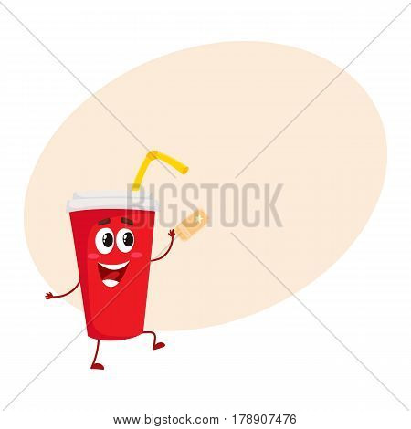 Cute and funny soda drink character in red paper cup with smiling human face, cartoon vector illustration with place for text. Smiling movie, cinema soft drink, beverage character, mascot