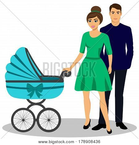 Family with a stroller. A young couple. Illustration of a flat design. Isolated vector illustration.