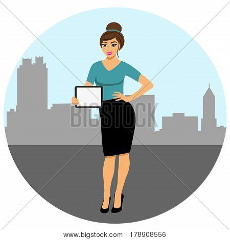 Woman showing something displayed on tablet pc. A modern girl in a big city. Girl with tablet. Girl with ipad.