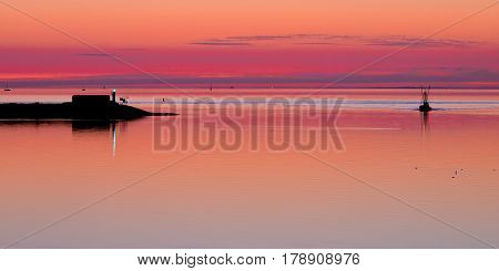 Beautiful Tranquil Sunset over the red Ocean