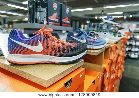 New York March 11 2017: Nike shoes are set on display in a shoe store.