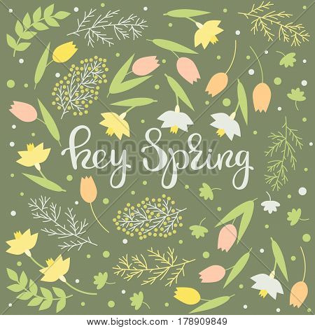 Hey spring - handwritten floral card. Narcissus snowdrops and tulips lettering on a green background. Vector illustration.