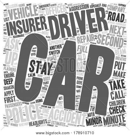 Minor Car Accidents A Minute By Minute Survival Guide text background wordcloud concept